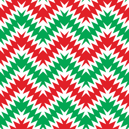 Seamless holiday zigzag pattern in red, green and white. Ilustrace
