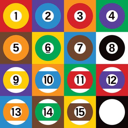 Colorful checkerboard design of of all 16 billiards balls.