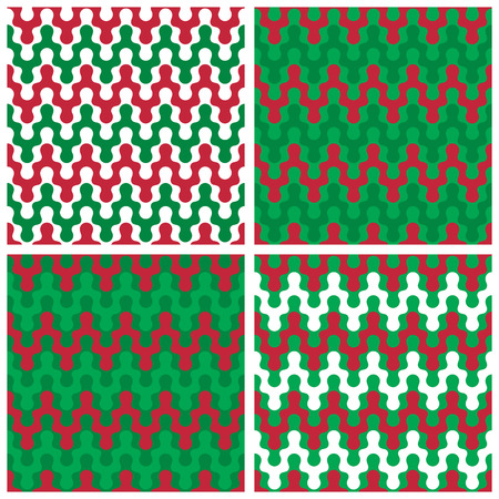 Collection of seamless zigzag patterns in holiday colors. Ilustrace