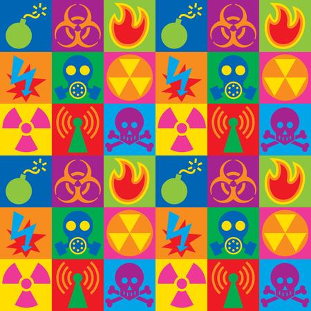 Colorful checkered pattern of hazard warning icons. Reklamní fotografie - 90773890