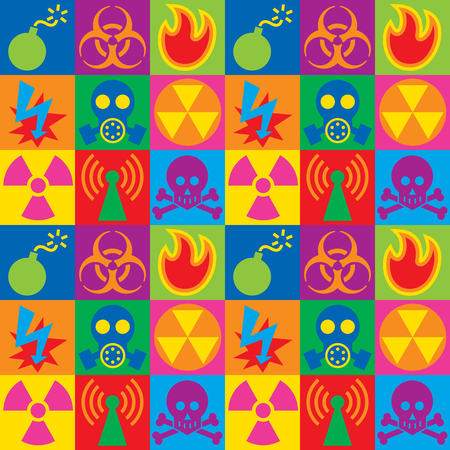 Damier coloré des icônes d'avertissement de danger.