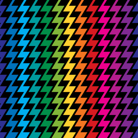 Zigzag pattern in rainbow colors repeats seamlessly.