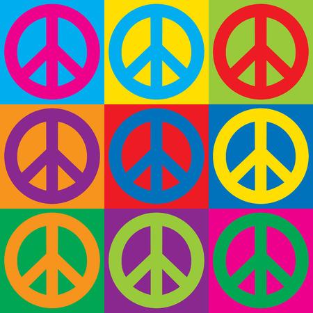 Pop Art Peace Symbols in a colorful checkerboard design.
