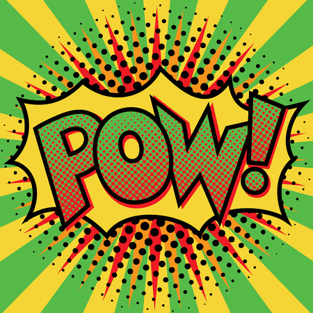 Pop Art cartoon POW! text design with halftone effects on a burst background.
