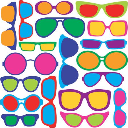 カラフルなメガネ フレーム スタイルのパターンをシームレスに繰り返します。