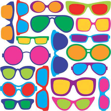 Pattern of colorful eyeglass frame styles repeats seamlessly. Illustration