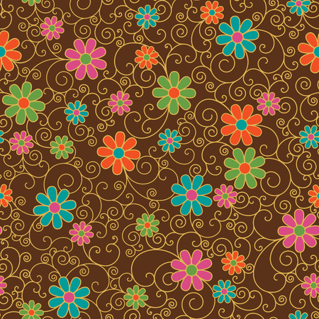 Seamless pattern of stylized flowers and filigree on a brown background.