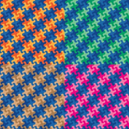 Puzzle plaid pattern in four colorways repeats seamlessly.