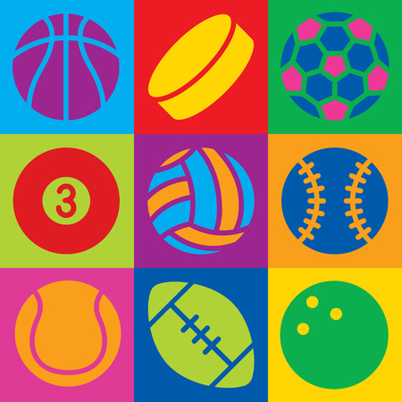 Pop Art-styled generic game ball icons in a colorful checkered design. Can also be used as a seamless pattern.