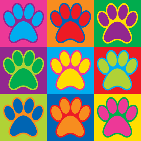 Pop Art paw prints in a colorful checkerboard design.
