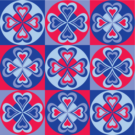 Pattern of hearts and circles in red and blue. Can be used as a seamless pattern. Illustration