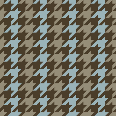 Classic houndstooth pattern with blue and brown vertical stripes repeats seamlessly. Ilustrace