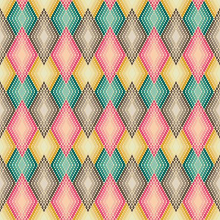 Seamless pattern of lined diamond shapes in muted colors.