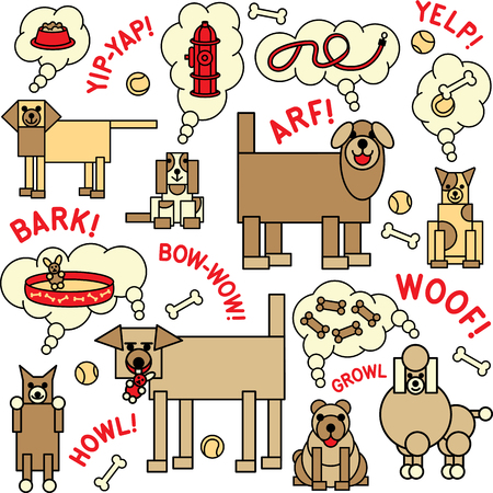 Repeat Pattern of of dogs and what they say and think about.