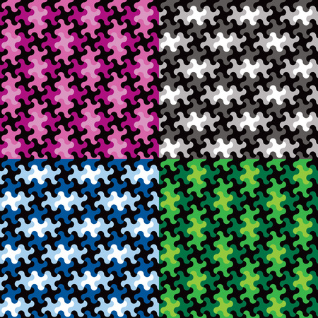 Puzzle piece pattern in four colorways repeats seamlessly.