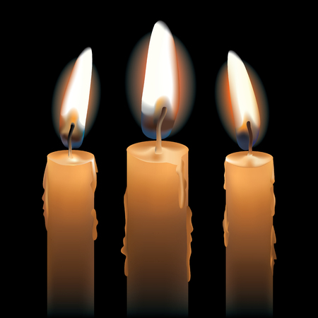 Three burning candles isolated on black. AI10 .eps has radial and gradient mesh objects.