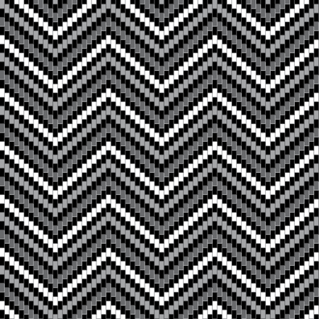 Detailed herringbone pattern in black, white and grey repeats seamlessly.