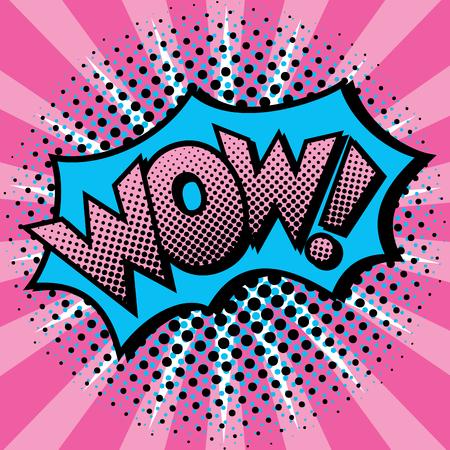 Pop Art cartoon WOW! text design with halftone effects on a burst background. Reklamní fotografie - 90318854