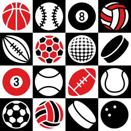 Generic game ball icons on a red, black and white checkered background. Can also be used as a repeat pattern.