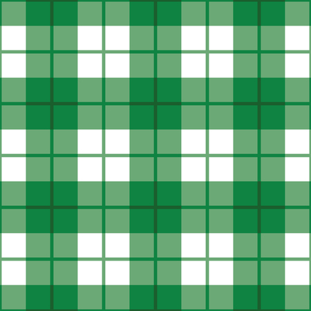 Seamless straight plaid pattern in green and white. Ilustrace