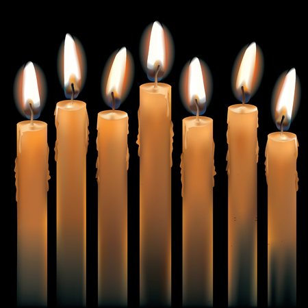 Vector illustration of seven burning candles isolated on black. AI10.eps has gradient mesh objects. Ilustração