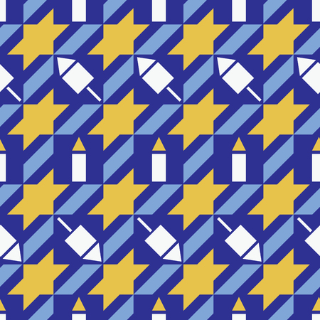 Hanukkah pattern with stars, dreidels and candles repeats seamlessly.