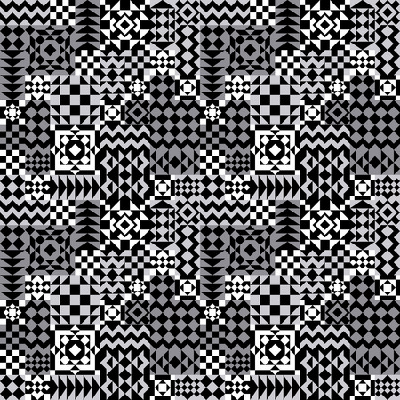 Seamless pattern of assorted geometric shapes in black, white and grey. This is a 4-tile repeat.