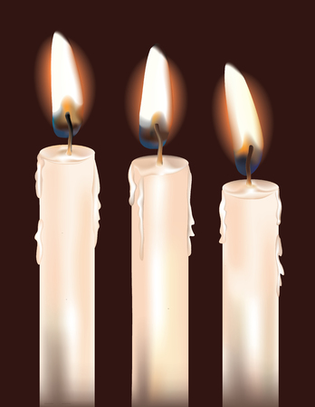 Illustration of three lit white candles.