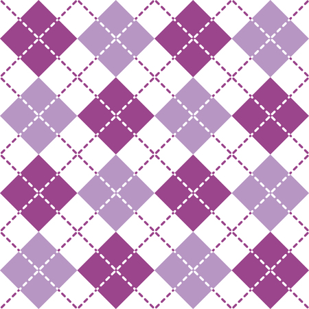 Seamless argyle pattern with dashed lines in purple and white.