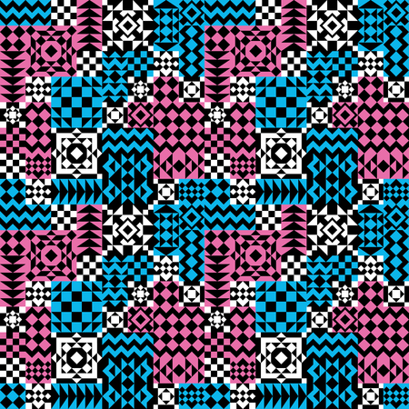 4-Tile repeat pattern of assorted geometric shapes in pink, blue, black and white. Reklamní fotografie - 90032223