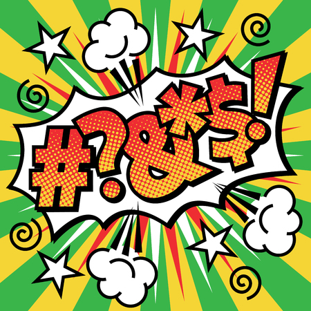 Pop Art cartoon curse word text design with halftone effects on a burst background.  イラスト・ベクター素材