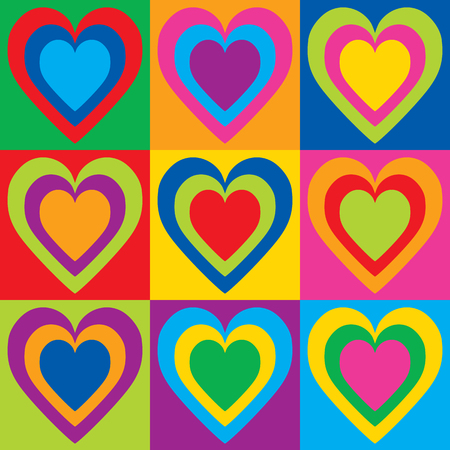 Pop Art Hearts in a colorful checkerboard design.