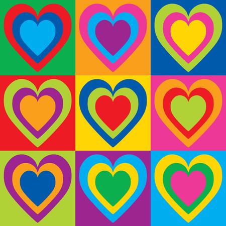 Pop Art Hearts in a colorful checkerboard design.
