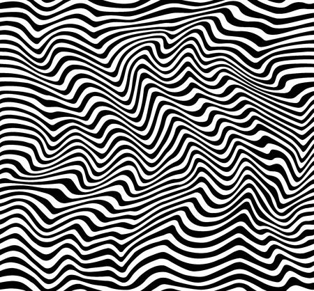 Dynamic seamless pattern of black and white wavy stripes.
