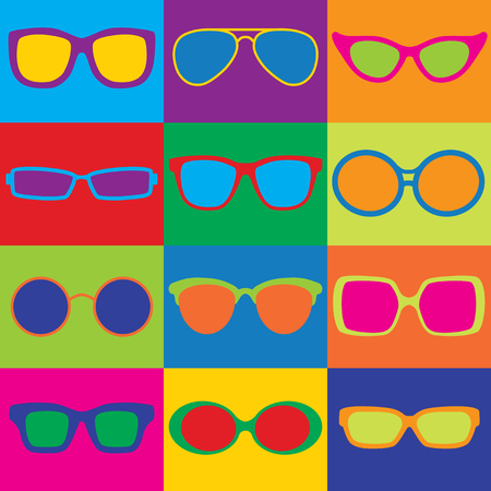 Fashion eyeglass frame styles in a colorful checkerboard. Can also be used as a repeat pattern. Illustration