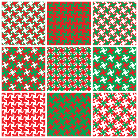 Collection of swirly abstract patterns in holiday colors.
