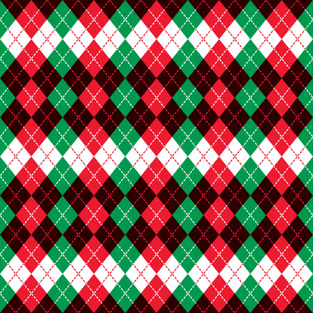 Seamless argyle pattern with dashed lines in holiday colors.
