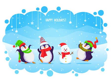 Vector holiday Christmas greeting card with cute cartoon penguins and snowman. Different clothing and santa hats, various poses. All elements are isolated.