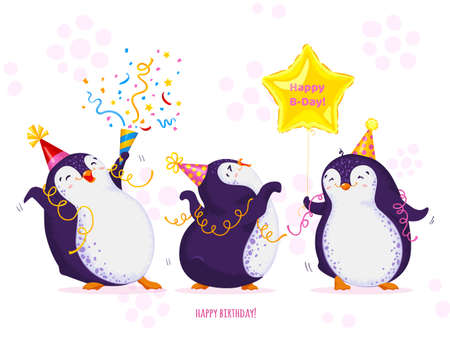 Birthday greeting card with cute dancing penguins. Funny birds in different birthday caps, various poses. Vector cartoon illustration. All elements are isolated.