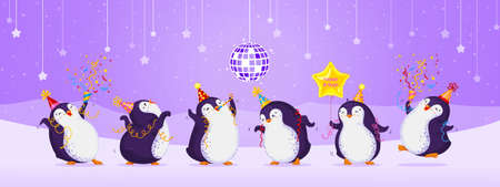 Birthday greeting card with cute dancing penguins. Purple background with stars, disco ball, snowflakes and mountains. Funny birds in different birthday caps. Vector cartoon illustration. Иллюстрация