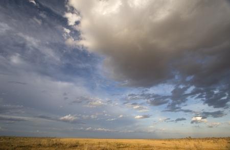 africa sunset: Pomeriggio sole e nubi spettacolari su pianure di Tsavo Est, Kenya