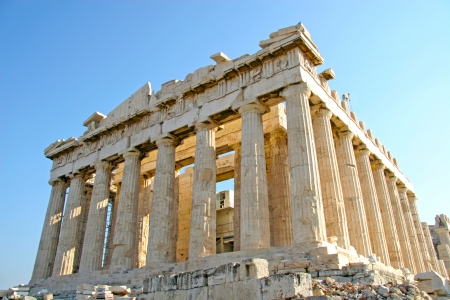 parthenon: View of the Parthenon which is the temple of the Acropolis  It consists of doric columns  Athens, Greece  Stock Photo
