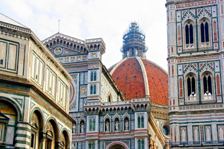 Santa Maria del Fiore, which is Florence Cathedral or Basilica of Saint Mary of the Flower   The Baptistry of St John, Italy photo