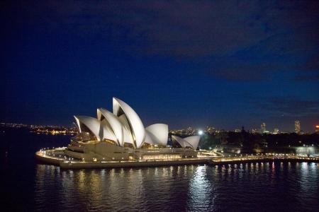 Sydney Opera house at night, New South Wales, Australia
