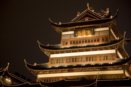 Illuminated traditional buildings of the Old town in the city center, Nanshi, Shanghai, China