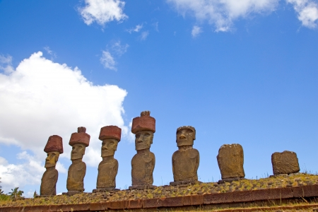 Ahu Nau Nau Moai Statues at Anakena Beach with red scoria headdress photo