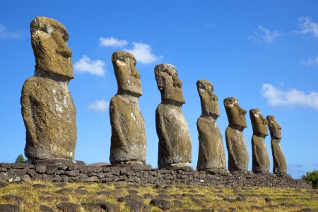 View of seven Ahu Akivi Moai, which are the only Moai to face the sea, Rapa Nui, Easter Island, Chile  Stock Photo