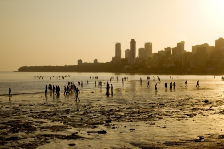 Chowpatty Beach at sunset, Mumbai, India  Stock Photo