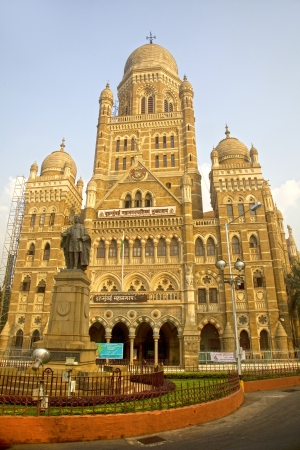 build in: Municipal Corporation building, Mumbai, in Gothic revival style, build in 1893  Editorial