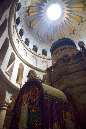middle easter: Looking towards the dome of the rotunda of the Church of the Holy Sepulchre in the old city, Jerusalem, Israel  Editorial